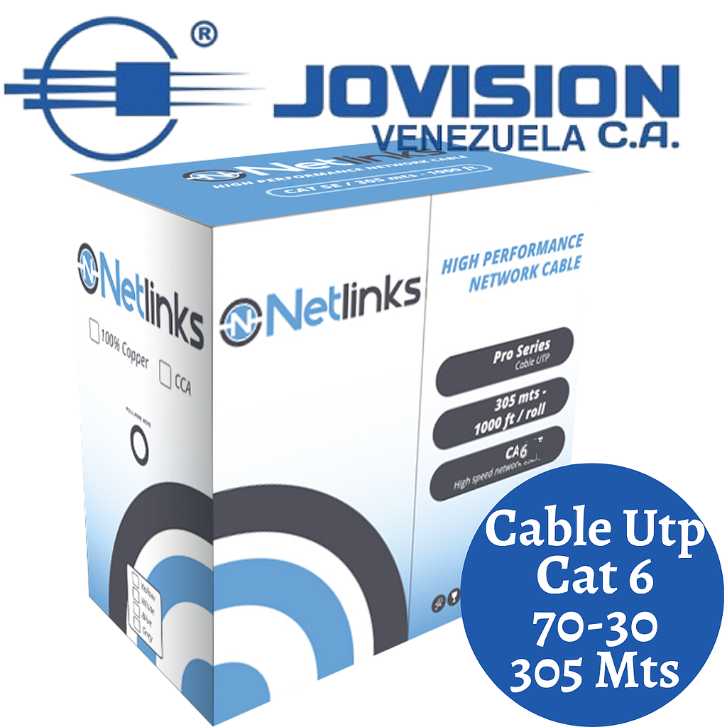 Cable Utp Cat6 70-30 Indoor 305mts Cat 6 Certificado